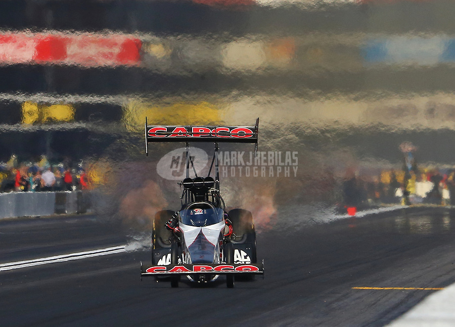 Nov 11, 2018; Pomona, CA, USA; NHRA top fuel driver Billy Torrence during the Auto Club Finals at Auto Club Raceway. Mandatory Credit: Mark J. Rebilas-USA TODAY Sports