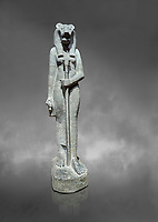 "Ancient Egyptian statue of goddess Sekhmet, grandodiorite, New Kingdom, 18th & 20thDynasty (1390-1150 BC), Thebes. Egyptian Museum, Turin. Grey Background.<br /> <br /> Sekhmet, ""the Powerful One"" was a fearsome goddess symbolised by her lioness head. Daughter of the sun she personifies the disk of the world during the day. Sekhmet is the angry manifestation of Hathor inflicting the scourges of summer heat, famine and illness which is why the goddess needed to be exorcised every day. Drovetti Collection. C 255"