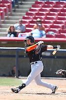 Jay Baum (22) of the Bakersfield Blaze bats during a game against the High Desert Mavericks at Mavericks Stadium on May 18, 2015 in Adelanto, California. High Desert defeated Bakersfield, 7-6. (Larry Goren/Four Seam Images)