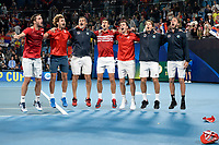 12th January 2020; Sydney Olympic Park Tennis Centre, Sydney, New South Wales, Australia; ATP Cup Australia, Sydney, Day 10; Serbia versus Spain;  Novak Djokovic and Team celebrate after their doubles victory over Spain to win the ATP Cup - Editorial Use