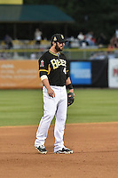 Ian Stewart (4) of the Salt Lake Bees during the game against the Fresno Grizzlies at Smith's Ballpark on May 25, 2014 in Salt Lake City, Utah.  Stewart, from the Los Angeles Angels of Anaheim was in the lineup for a rehab stint with the Bees.  (Stephen Smith/Four Seam Images)