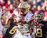 Boston College wide receiver Kobay White makes a catch against Florida State Stanford Samuels lll in the first half of an NCAA college football game in Tallahassee, Fla., Saturday, Nov. 17, 2018. (AP Photo/Mark Wallheiser)