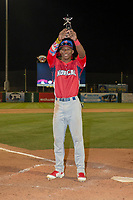 Dairon Blanco (5) of the Stockton Ports receives the Bush's All-Star MVP Award after the 2018 California League All-Star Game at The Hangar on June 19, 2018 in Lancaster, California. The North All-Stars defeated the South All-Stars 8-1.  (Donn Parris/Four Seam Images)