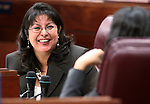 Nevada Assemblywoman Irene Bustamante Adams, D-Las Vegas, waits for the start of the Assembly floor session Friday morning, May 6, 2011, at the Legislature in Carson City, Nev..Photo by Cathleen Allison