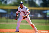 FDU-Florham Devils first baseman Christopher Franco (21) during the first game of a doubleheader against the Farmingdale State Rams on March 15, 2017 at Lake Myrtle Park in Auburndale, Florida.  Farmingdale defeated FDU-Florham 6-3.  (Mike Janes/Four Seam Images)