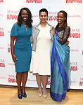 """Immaculee ILibagiza, Leslie Malaika Lewis and Malaika Uwamahoro during a reception for  """"Miracle in Rwanda"""" honoring International Day of Reflection on the 1994 Genocide against the Tutsi in Rwanda at the Lion Theatre on Theater Row on April 7, 2019 in New York City."""
