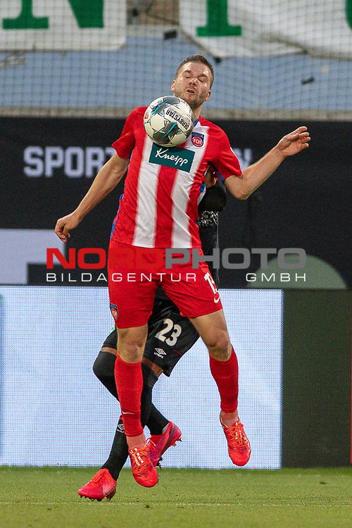 Robert Leipertz (FC Heidenheim, #13), Theodor Gebre Selassie (SV Werder Bremen #23),<br /> <br /> GER, FC Heidenheim vs. Werder Bremen, Fussball, Bundesliga Religation, 2019/2020, 06.07.2020,<br /> <br /> DFB/DFL regulations prohibit any use of photographs as image sequences and/or quasi-video., <br /> <br /> <br /> Foto: EIBNER/Sascha Walther/Pool/gumzmedia/nordphoto