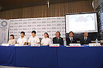(L-R) Ypshiko Nishitani, Rei Sugimoto, Kokoro Fujii, Miho Nonaka, Kuniaki Yagihara, Yoshio Ogata, Kenshichiro Morishita, <br /> AUGUST 3, 2016 - Sports Climbing :<br /> Japan Mountaineering Association holds a press conference<br /> after it was decided that the sport of <br /> Sports Climbing would be added to the Tokyo 2020 Summer Olympic Games<br /> on August 3rd, 2016 in Tokyo, Japan.<br /> (Photo by AFLO SPORT)