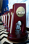 GREENSBORO, NC - MARCH 17: NCAA Trophies lay in wait to be awarded to the winners of the Division II Men's and Women's Swimming & Diving Championship held at the Greensboro Aquatic Center on March 17, 2018 in Greensboro, North Carolina. (Photo by Mike Comer/NCAA Photos/NCAA Photos via Getty Images)
