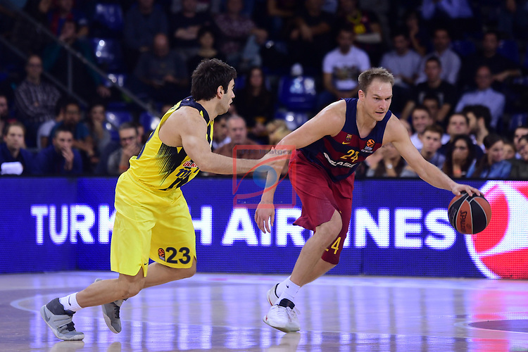 Turkish Airlines Euroleague 2016/2017.<br /> Regular Season - Round 2.<br /> FC Barcelona Lassa vs Fenerbahce Istanbul: 72-73.<br /> Berk Ugurlu vs Brad Oleson.