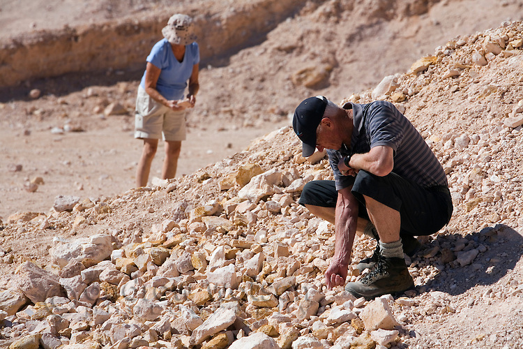 Noodling (fossicking) for opals in the outback town of Coober Pedy, South Australia, AUSTRALIA.