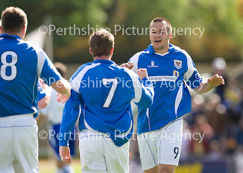 St Johnstone v Morton....02.05.09.Steven Milne celebrates his making it 2-1.Picture by Graeme Hart..Copyright Perthshire Picture Agency.Tel: 01738 623350  Mobile: 07990 594431