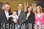 Baby Ben Leonard, who was christened in Holy Cross Church, Kenmare, on Saturday, pictured here with his parents Bernard Leonard and Jennifer Nash, and godparents William Fitzgerald and Kelly Ann Mills, at a celebration in the Brook Lane Hotel, Kenmare, afterwards.