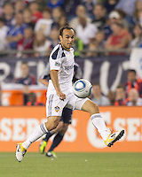 Los Angeles Galaxy midfielder Landon Donovan (10) traps the ball. In a Major League Soccer (MLS) match, the Los Angeles Galaxy defeated the New England Revolution, 1-0, at Gillette Stadium on May 28, 2011.