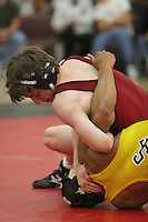 23 November 2004: Chris Hayworth during Stanford's wrestling match against USF in the Ford Center in Stanford, CA.