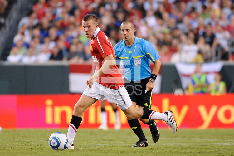 Tom Cleverley (35) of Manchester United. Manchester United (EPL) defeated the Philadelphia Union (MLS) 1-0 during an international friendly at Lincoln Financial Field in Philadelphia, PA, on July 21, 2010.