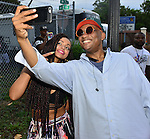 MIAMI, FL - JULY 25: Mýa and Mayor of Miami Gardens Mayor Oliver G. Gilbert III backstage during the Overtown Music and Arts Festival at the historic Overtown district of Miami on Saturday July 25, 2015 in Miami, Florida. ( Photo by Johnny Louis / jlnphotography.com )