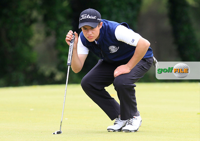 Charlie Denvir (Milltown) on the 1st green during Round 3 of the Irish Boys Amateur Open Championship at Tuam Golf Club on Thursday 25th June 2015.<br /> Picture:  Thos Caffrey / www.golffile.ie