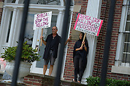 August 12, 2011 (Washington, DC) Madea Benjamin (right) and members of the group Code Pink protested in front of the Syrian Embassy in Washington on August 12, 2011.  The group was protesting what they consider Syria's human rights violations against its own people.  (Photo: Media Images International)