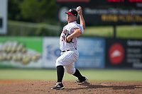 Kannapolis Intimidators relief pitcher Matt Foster (24) in action against the Hagerstown Suns at Kannapolis Intimidators Stadium on July 9, 2017 in Kannapolis, North Carolina.  The Intimidators defeated the Suns 3-2 in game one of a double-header.  (Brian Westerholt/Four Seam Images)