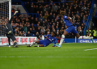 11th January 2020; Stamford Bridge, London, England; English Premier League Football, Chelsea versus Burnley; Callum Hudson-Odoi of Chelsea shoots to score his sides 3rd goal in the 49th minute to make it 3-0 - Strictly Editorial Use Only. No use with unauthorized audio, video, data, fixture lists, club/league logos or 'live' services. Online in-match use limited to 120 images, no video emulation. No use in betting, games or single club/league/player publications