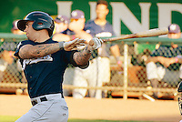 Taylor Brennan (12) of the Helena Brewers at bat against the Ogden Raptors in Pioneer League play at Lindquist Field in Ogden Utah on July 20, 2013.  (Stephen Smith/Four Seam Images)