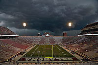 Storm clouds and high winds move north of Oklahoma Memorial Stadium before the Ohio State Buckeyes and Oklahoma Sooners game on September 17, 2016 in Norman, Oklahoma.  The fans have been asked to leave the stands and move under the stadium.  (Kyle Robertson/ The Columbs Dispatch)