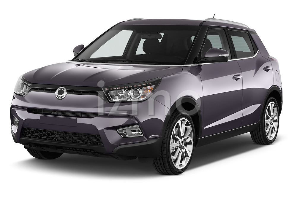 2015 Ssangyong Tivoli Quartz 5 Door Suv Angular Front stock photos of front three quarter view