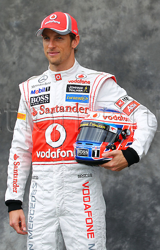15.03.2012. Melbourne, Australia.  British Formula One driver Jenson Button of McLaren Mercedes during the photo session at the paddock before the Australian Formula 1 Grand Prix at the Albert Park circuit in Melbourne, Australia, 15 March 2012. The Formula One Grand Prix of Australia will take place on 18 March 2012.