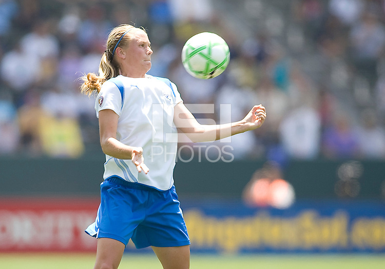 Boston Breakers Kelly Smith traps a ball. The Boston Breakers and LA Sol played to a 0-0 draw at Home Depot Center stadium in Carson, California on Sunday May 10, 2009.   .