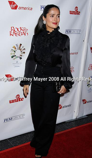 HOLLYWOOD, CA. - October 23: Actress Salma Hayek arrives at the Sir Richard Branson Charity Event Rock The Kasbah Benefitting Virgin Unite at The Hollywood Roosevelt Hotel on October 23, 2008 in Hollywood, California.