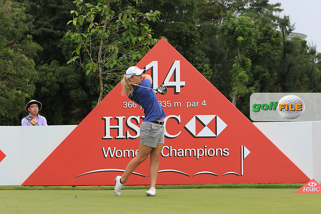 Austin Ernst (USA) on the 14th tee during Round 2 of the HSBC Women's Champions on Friday 3rd March 2017.<br /> Picture:  Thos Caffrey / Golffile