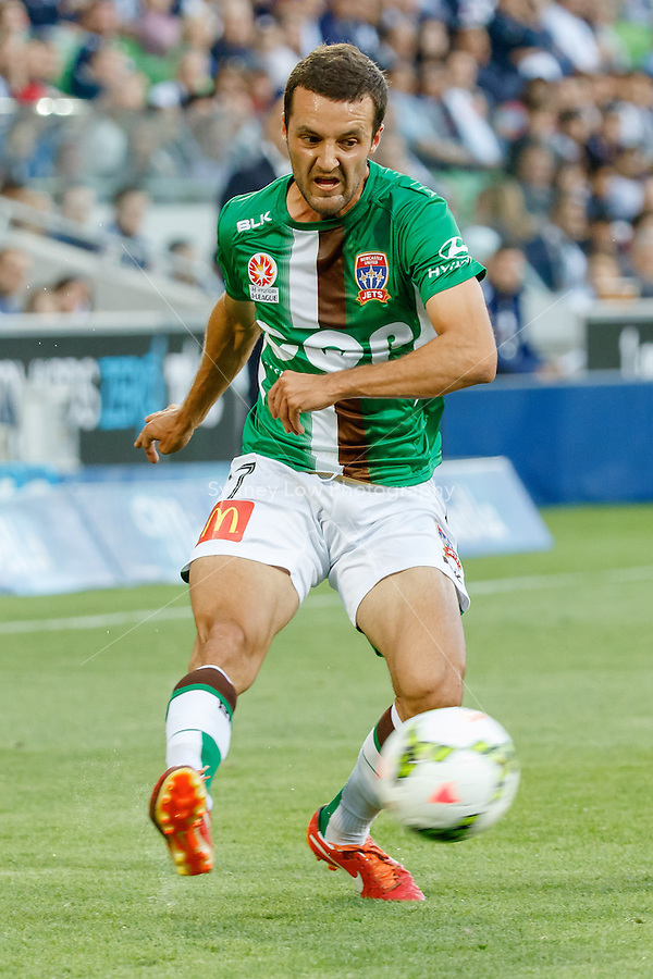 James VIRGILI (17) of the Jets kicks the ball in round 12 A-League match between Melbourne Victory and Newcastle Jets at AAMI Park in Melbourne, Australia during the 2014/2015 Australian A-League season. Melbourne def Newcastle 1-0