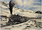 Painting from a Richard Kindig photo of #361 with freight nearing Cerro Summit.<br /> D&amp;RGW  Cerro Summit, CO  Taken by Bennett, Gil