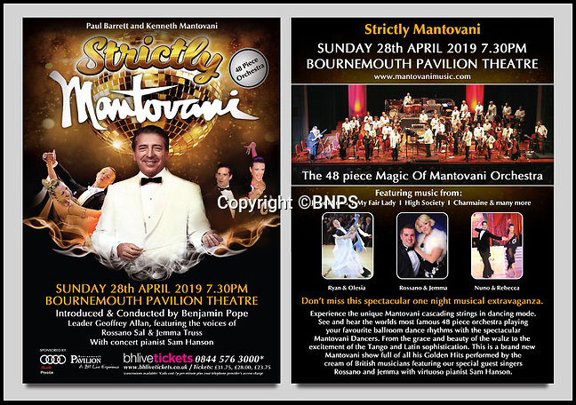 BNPS.co.uk (01202 558833)<br /> Pic: BNPS<br /> <br /> 'Strictly Mantovani' - advert for the show.<br /> <br /> A retired businessman has spent £26,000 laying on his very own a show in tribute to his hero - the musical maestro Annunzio Paolo Mantovani.<br /> <br /> Paul Barrett, 72, will perform in a 48-piece orchestra he has hired for the performance that he is prepared to make a loss of thousands of pounds on.<br /> <br /> Mr Barrett said he plans to do 'everything bar conducting' in the musical extravaganza being hosted at the Bournemouth Pavilion Theatre in Dorset.