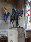 Equestrian statue of Edward Horner by Sir Alfred Munnings (on a base by Lutyens), Mells church, Somerset, England, UK