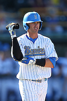 Kevin Kramer (7) of the UCLA Bruins during a game against the Hofstra Pride at Jackie Robinson Stadium on March 14, 2015 in Los Angeles, California. UCLA defeated Hofstra, 18-1. (Larry Goren/Four Seam Images)