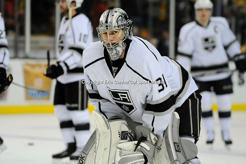January 20, 2014 - Boston, Massachusetts, U.S. - Los Angeles Kings goalie Martin Jones (31) during the  pre-game warm up period before the NHL game between Los Angeles Kings and the Boston Bruins held at TD Garden in Boston Massachusetts. The Bruins defeated the Kings 3-2 in regulation time.   Eric Canha/CSM