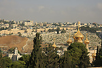 Israel, Jerusalem, the golden domes of the Russian Orthodox Church of Mary Magdalene