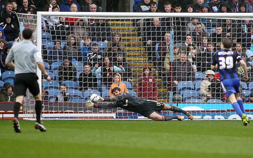 Middlesbrough's goal-keeper Dimitrios Konstantopoulos pushes a shot wide late in the game to keep a clean sheet<br /> <br /> Photo by Rich Linley/CameraSport<br /> <br /> Football - The Football League Sky Bet Championship - Burnley v Middlesbrough - Saturday 12th April 2014 - Turf Moor - Burnley<br /> <br /> &copy; CameraSport - 43 Linden Ave. Countesthorpe. Leicester. England. LE8 5PG - Tel: +44 (0) 116 277 4147 - admin@camerasport.com - www.camerasport.com