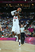 12.08.2012. London, England. LeBron James gets his shot to the hoop in the Mens Basketball Gold Medal Match between USA and Spain London 2012 Olympic Games USA won the game by a score of 107-100 and took the gold medal