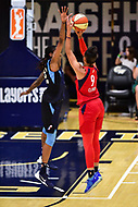 Washington, DC - September 2 2018: Washington Mystics guard Natasha Cloud (9) connects from downtown over Atlanta Dream guard Tiffany Hayes (15) during semifinals game against Atlanta Dream. Mystics even the series and force a deciding game 5 in Atlanta with a 97-76 win at the Charles Smith Center at George Washington University in Washington, DC. (Photo by Phil Peters/Media Images International)