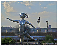 NEW YORK, NY - JUNE 23: Photograph of two ballerina statues on the Hudson River on 66th Street in New York, New York on June 23 2013. Photo Credit: Thomas R. Pryor