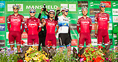 6th September 2017, Mansfield, England; OVO Energy Tour of Britain Cycling; Stage 4, Mansfield to Newark-On-Trent;  The Katusha-Alpecin team pose for photos after registration sign-in at Mansfield