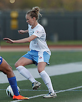 Chicago Red Stars defender Michelle Wenino (23) dribbles. In a National Women's Soccer League Elite (NWSL) match, the Boston Breakers (blue) defeated Chicago Red Stars (white), 4-1, at Dilboy Stadium on May 4, 2013.