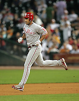 Philadelphia Phillies OF Pat Burrell trots around the bases after his pinch hit HR on Thursday May 22nd at Minute Maid Park in Houston, Texas. Photo by Andrew Woolley / Four Seam Images.