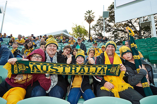 17.09.2016. Perth, Australia.  Australian fans show their colours during the Rugby Championship test match between the Australian Qantas Wallabies and Argentina's Los Pumas from NIB Stadium - Saturday 17th September 2016 in Perth, Australia.