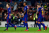 5th December 2017, Camp Nou, Barcelona, Spain; UEFA Champions League football, FC Barcelona versus Sporting Lisbon; FC Barcelona team celebrates their goal for 2-0 from an own goal by Mathieu (Spo)