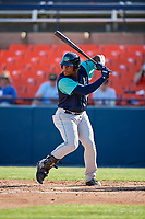 Lynchburg Hillcats first baseman Emmanuel Tapia (28) at bat during the first game of a doubleheader against the Frederick Keys on June 12, 2018 at Nymeo Field at Harry Grove Stadium in Frederick, Maryland.  Frederick defeated Lynchburg 2-1.  (Mike Janes/Four Seam Images)