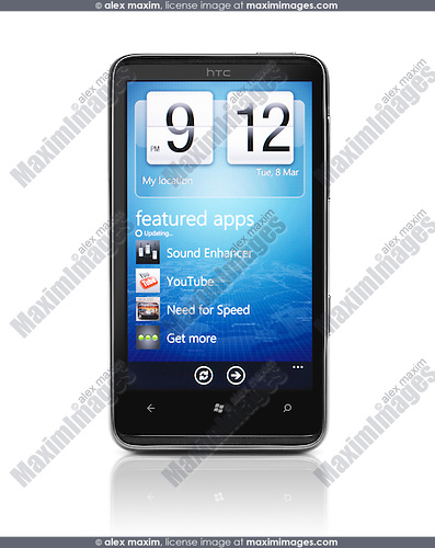 HTC HD7 Smartphone Windows 7 Phone isolated on white stock ...